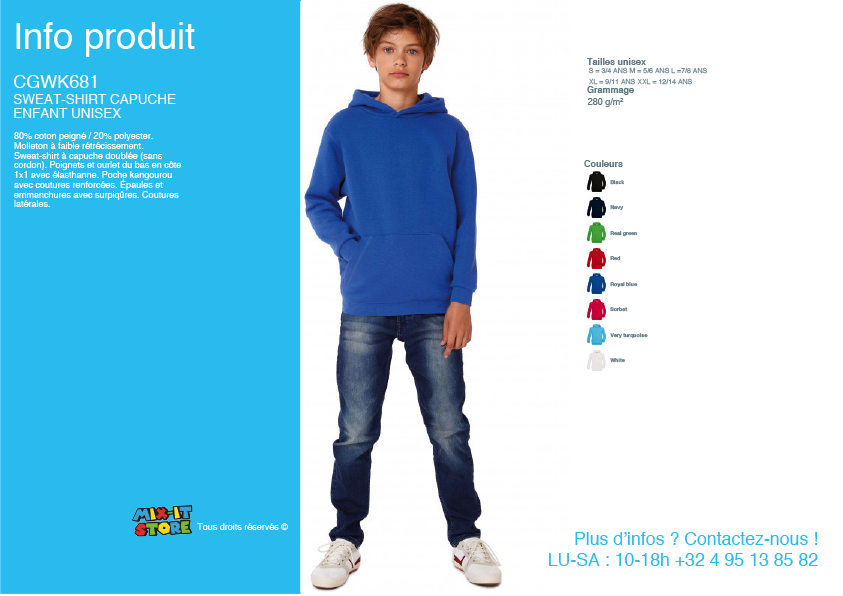 Sweat capuche enfant unisex